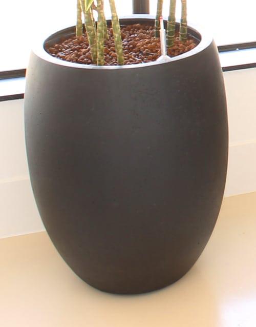 plantenpot zandsteen ballonvormig hoog antraciet