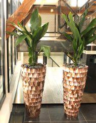 Hoge plantenpot parelmoer