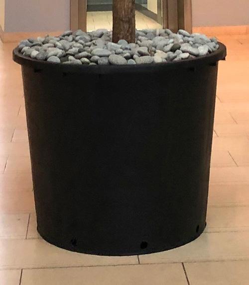 Ronde plantenbak hergebruikt kunststof zwart